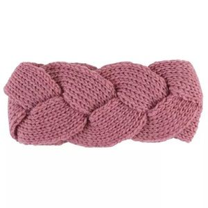 Pink Knitted Braided Woven Headband Ear Warmer